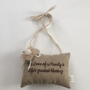 "Cute pillow doorknob hanger""The love of a family"""